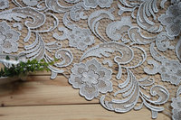 guipure lace fabric, silver grey lace fabric with classic floral pattern, venice lace fabric african lace fabric