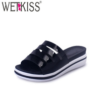 2017 Sexy Ladies Wedges Platform Slippers Outside Rome Style Women Shoes Open Toe Summer Med Heels