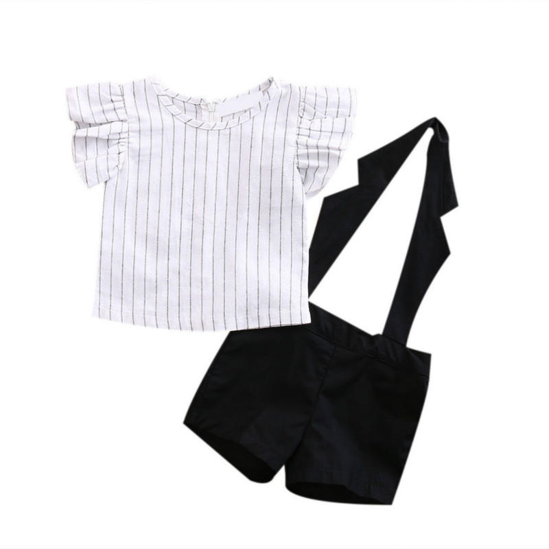 Summer Formal Brief Set Toddler Kids Girls Striped Flying Ruffle Sleeve Tops Shirt Black Short Overall Shorts 2Pcs Set Clothes 2017 summer toddler kids clothing set princess girls lace t shirt tops floral shorts overall jumpsuit 2pcs children clothes 1 6y