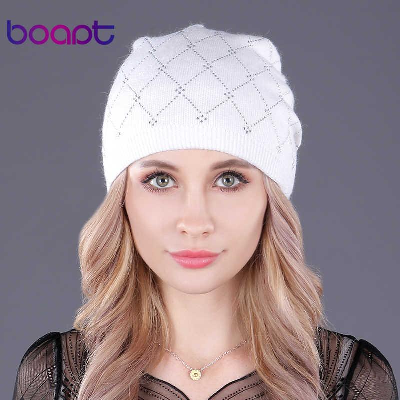 d341c56512c6 [boapt] двухъярусный шерсть вязаный стразы шапочка колпачки для женская  шляпа ...