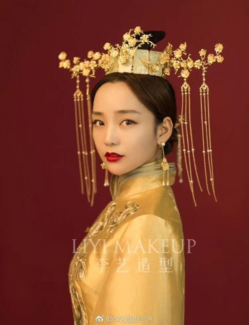 chinese ancient princess hair crown long tassels flower branch vinatage chinese women headwear wedding hair jewelry