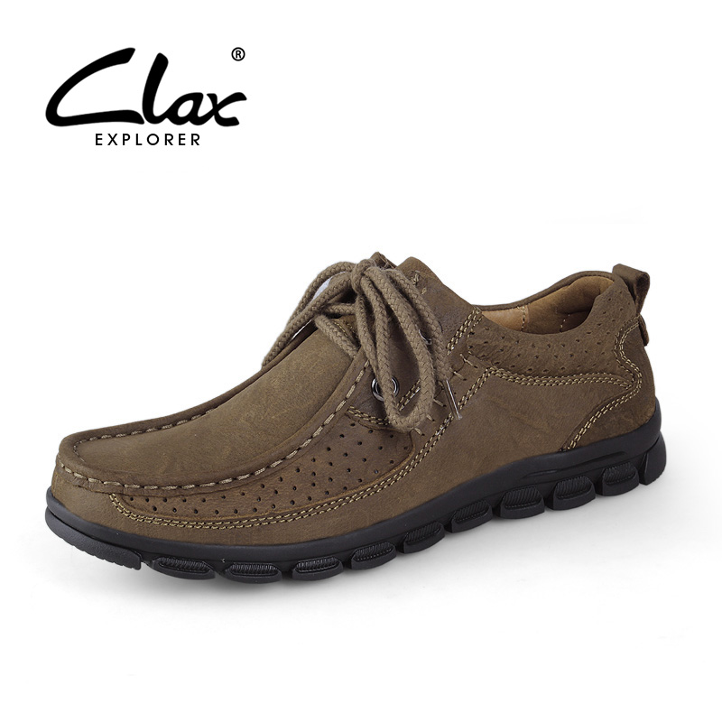 CLAX Men's Walking Shoe Outdoor 2017 Summer Autumn Genuine Leather Shoes for Male Soft Comfortable Retro Footwear Breathable claladoudou spring autumn children sneakers genuine leather red girls running shoes waterproof comfortable boys walking shoe kid