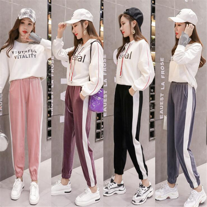 KMUYSL 2018 Korean version slim Haren velvet striped sports women s trousers KF018