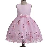 Baby Girls Birthday Gift White Flower Party Dress Big Bow Infant Princess Kids Wedding Dress Girls Bridesmaid Clothing