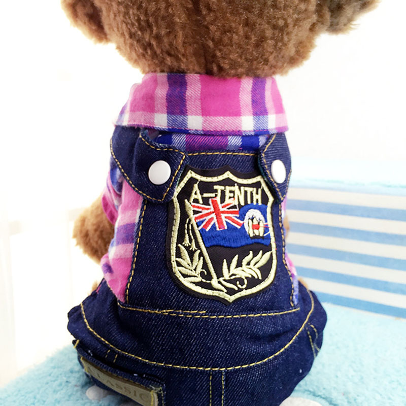 Pet Products Pet Dog Red Blue Green Purple Plaid Shirt Denim Jeans Strap Pants Puppy Spring Autumn Jumpsuits Clothes For Chihuahua Home & Garden