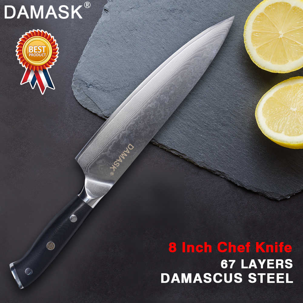Damask Damascus Steel Chef Knife Santoku Kitchen Knife Professional Japanese Chef Kitchen Cooking Knives Gyutou Meat Cleaver