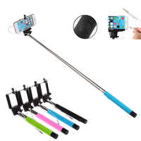 New 100CM Extendable Handheld Selfie Stick With Remote Shutter Button 3.5mm Cable Wired Selfie Monopod For Android IOS Phone DOM