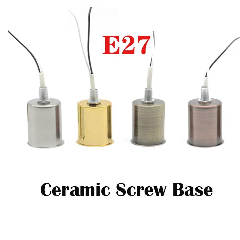 E27 For LED Light Bulb Chrome/Gold/Bronze/Red Bronze Ceramic Screw Base Adapter Decor Lamp Socket  Ceramic Holder Pendant Round