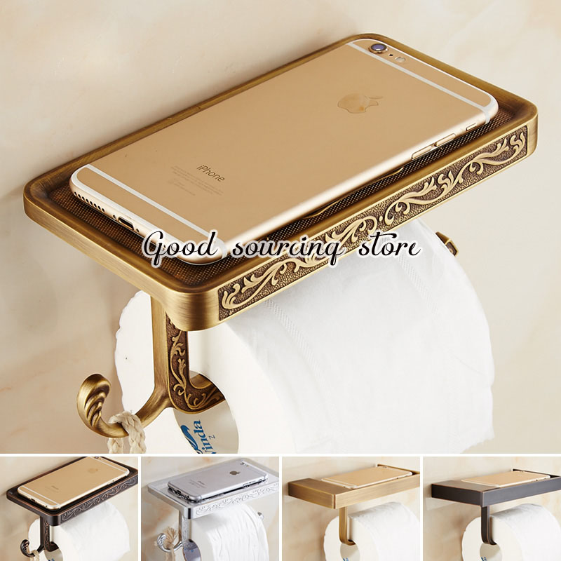 silver antique golden oil rubbed bronze black white bathroom toilet paper holder can load phone golden bronze sparkle