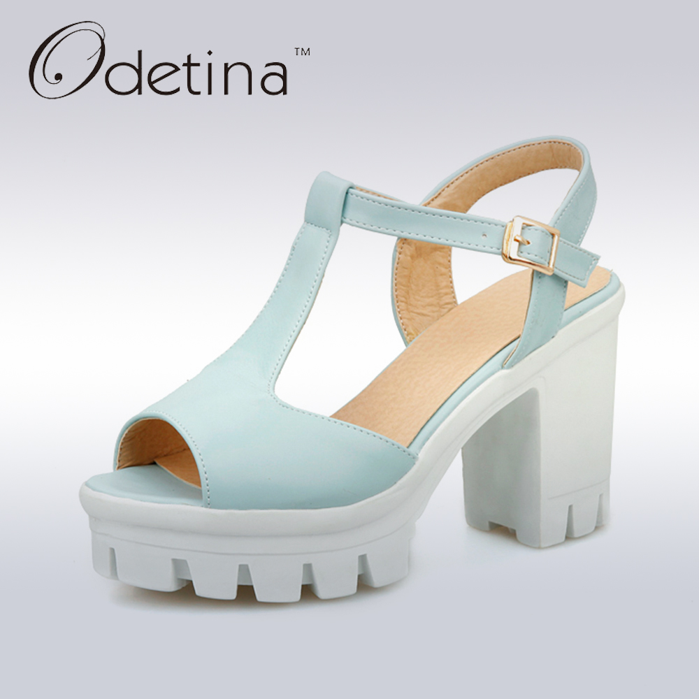 Odetina 2017 New Fashion Peep Toe T Strap Sandals Thick High Heel Platform Buckle Ladies Square Heel Shoes Summer Big Size 33-43 qplyxco 2017 big small size 32 46 peep toe ankle strap thick high heel sandals platform ladies shoes women sandal 2095