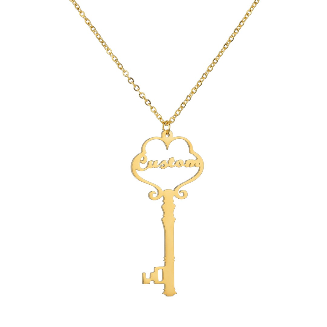 Stainless Steel Personalized Necklace Vintage Charm Custom Key Chain Pendant Gold Link Necklace Custom Jewelry Valentine Gift