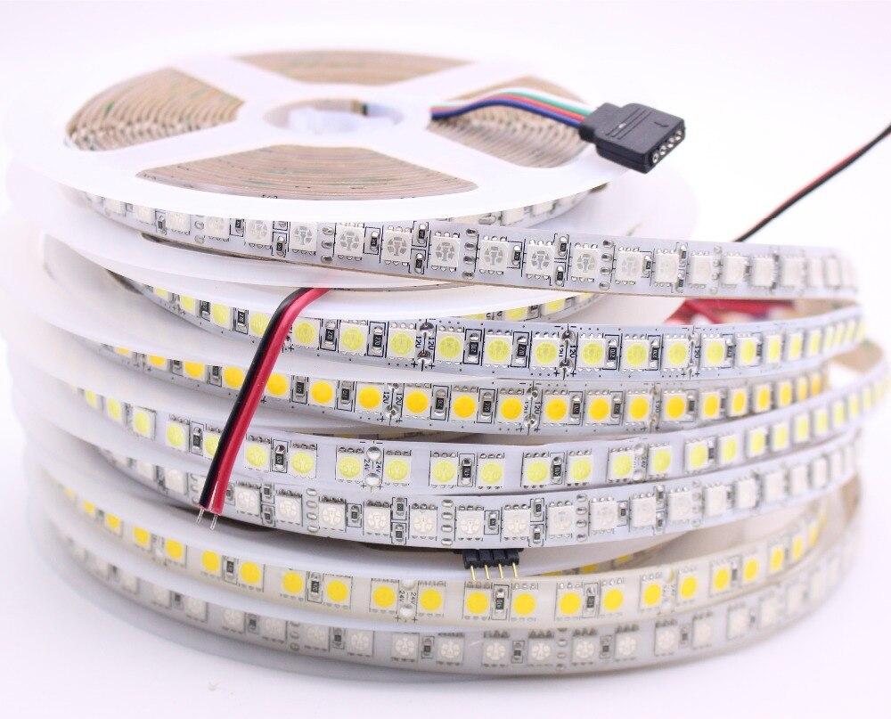 DC12V 24V tira CONDUZIDA 5050 120 LEDs/m 5M 600LED Super Bright LED Flexível 5050 Luz de Tira do RGB, Branco, Branco quente não À Prova D' Água