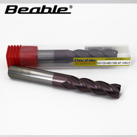 Beable tools 12*12*45*100 4 Flute 6mm end mill HRC55 end mills carbide cnc milling cutter cutters for metal milling tools