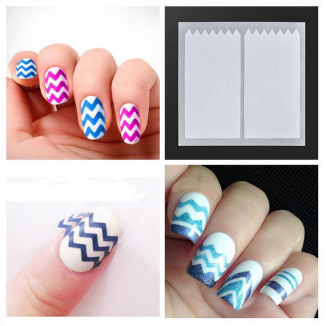 Shellhard 10 Stks Franse Nail Art Stickers Zigzag Ontwerp Tips Decal