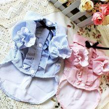 Весна и лето розовый цвет модная полосатая печатная пачка балерины Принцесса платья маленькая кошка летняя одежда для собак платья