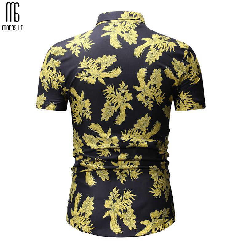 Мужские повседневные рубашки с коротким рукавом, отложным воротником, рубашки на пуговицах, гавайская рубашка с цветочным принтом, тонкие топы для лета 2019