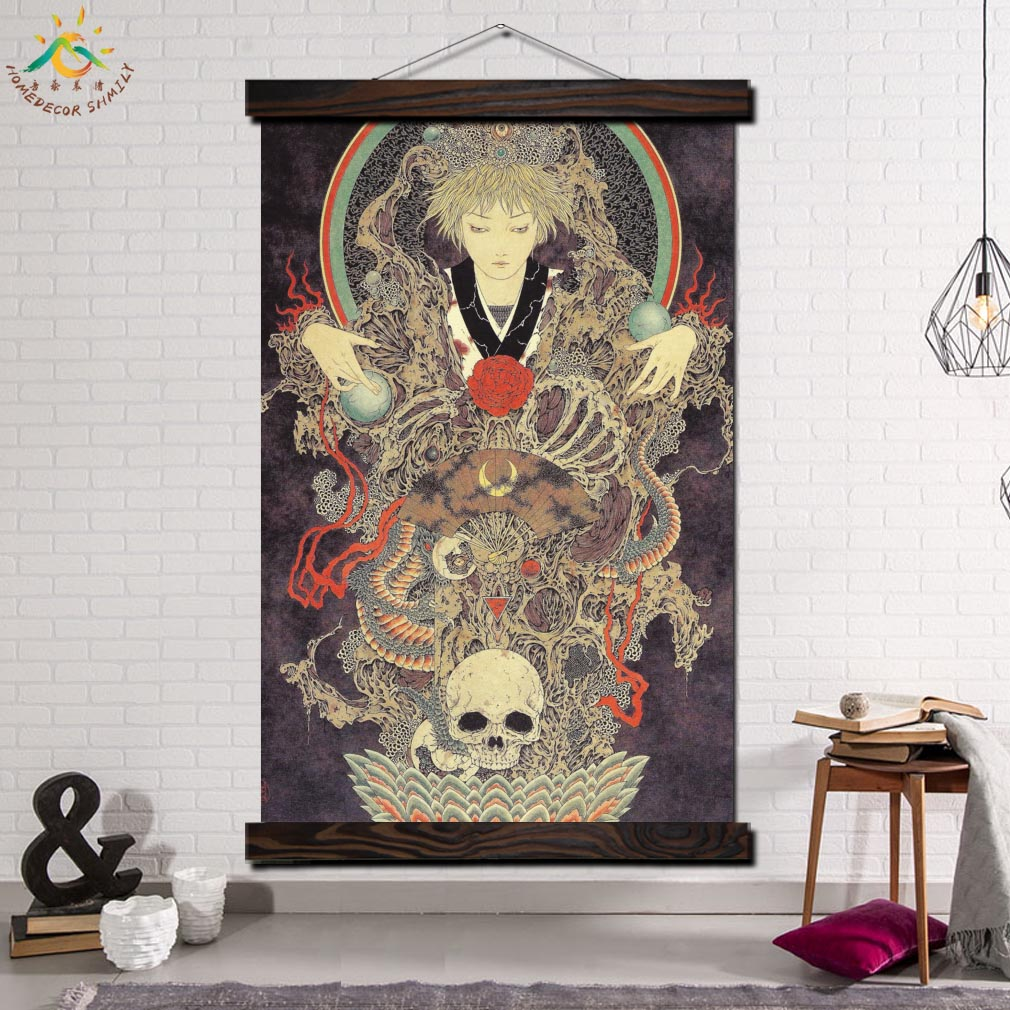yamamoto Skull Art Picture Modern Wall Print Pop And Poster Frame Hanging Scroll Canvas Painting