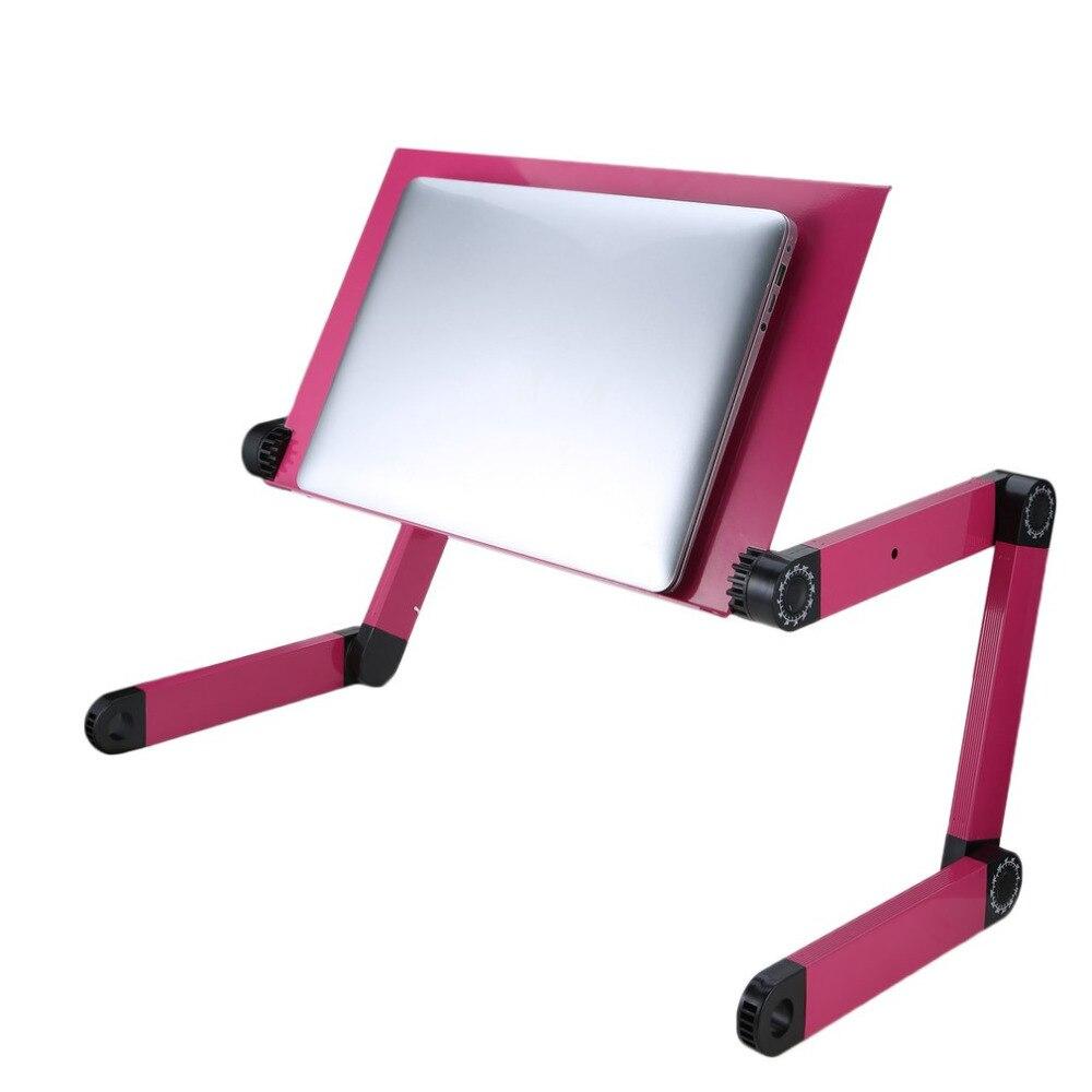 все цены на Foldable Aluminum Alloy Computer Desk 360 Degree Adjustable Laptop Notebook Lap PC Folding Desk Table Vented Storage Stand онлайн