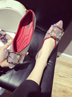Women's shoes, pumps shoes, 2018 new models, summer and autumn sharp diamonds, bright metal buckles, shallow shoes, low heels.