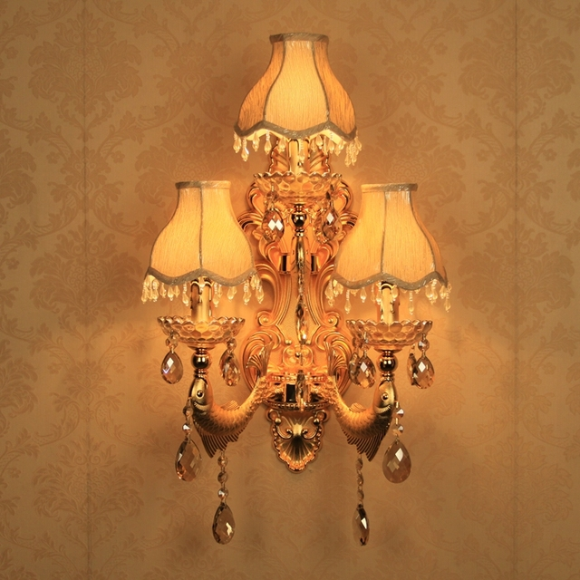 Hallway large gold wall lights modern Indoor crystal wall lamp with fabric lampshade LED wall Sconce restaurant  bedside light