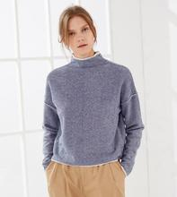 100%Cashmere Blue Khaki Sweater Women's Fashion Turtleneck Pullover Striped Natural Fabric High Quality Free Shipping