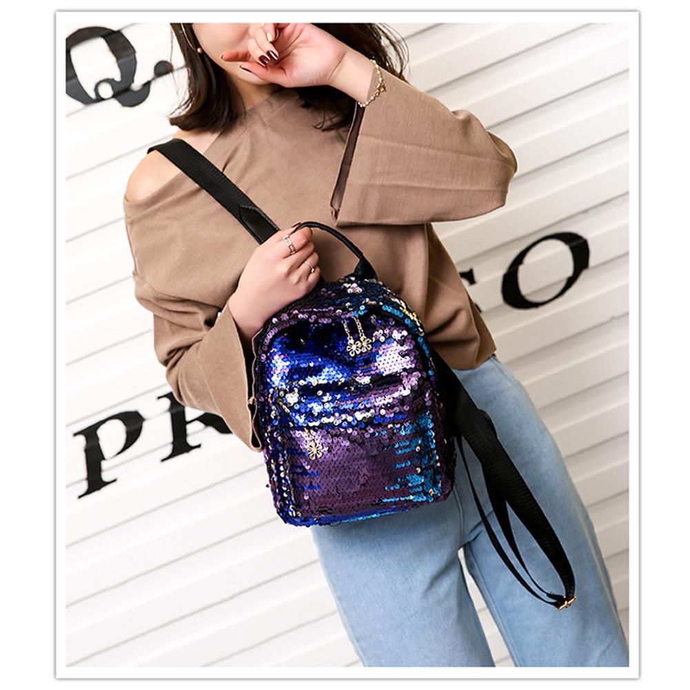 Yfashion Fashionable Sequin Backpack Mini Women Female Backpack Travel Bagpack