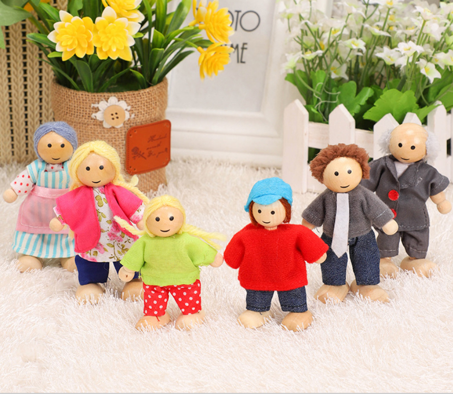 6 People Wooden Jointed Dolls Set Family Miniature Toys For Children Muppet Pretend Doll Toys Story-telling Dressed Characters