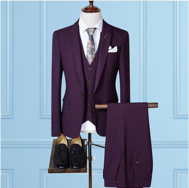 trajes de hombre Suit Men Causal Woolen Grid Men 39 s Suis Wedding Dress Men 39 s Business Suits Jacket Vest Pants terno masculin in Suits from Men 39 s Clothing