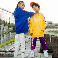 Jazz Costume Boys Long Sleeve Hooded Top Pants Hip Hop Clothes For Girls Street Dance Clothing Performance Stage Outfits DN2596