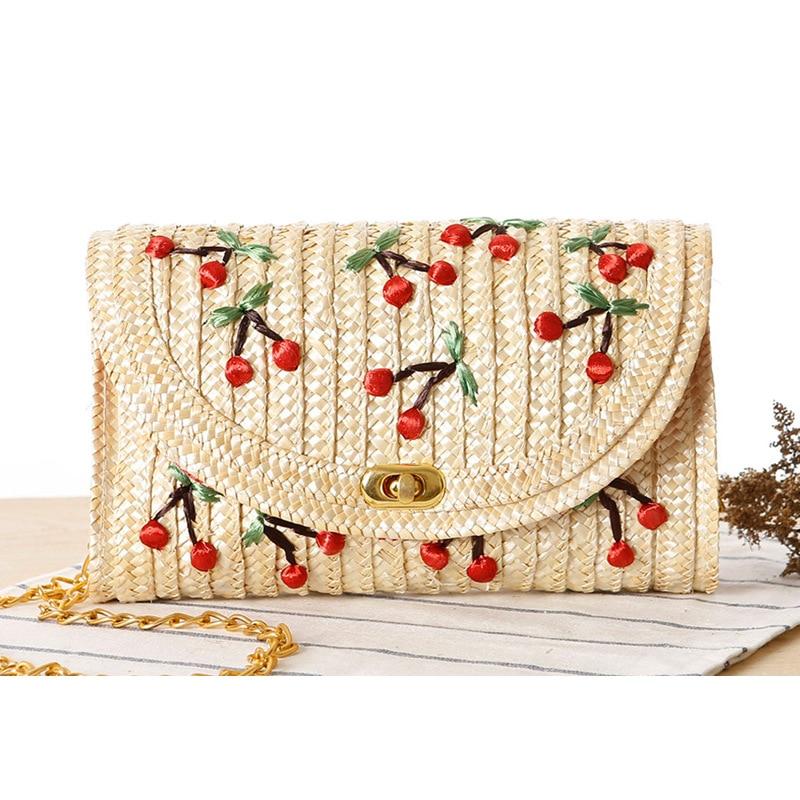 Hand Embroidered Cherry Printed Women Straw Shoulder Bag Handbag