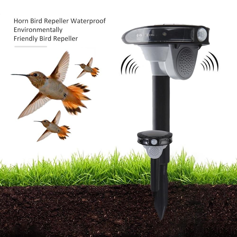 Dual Power Bird Repeller Waterproof Horn Bird Repelling Device 3 Sounds Mode Speaker Bird Repeller With Led Flash