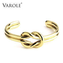 Varole simple anudado verano Brazaletes brazalete pulsera para las mujeres joyería rosa/oro color 100% cobre metal brazalete pulseiras Mujer