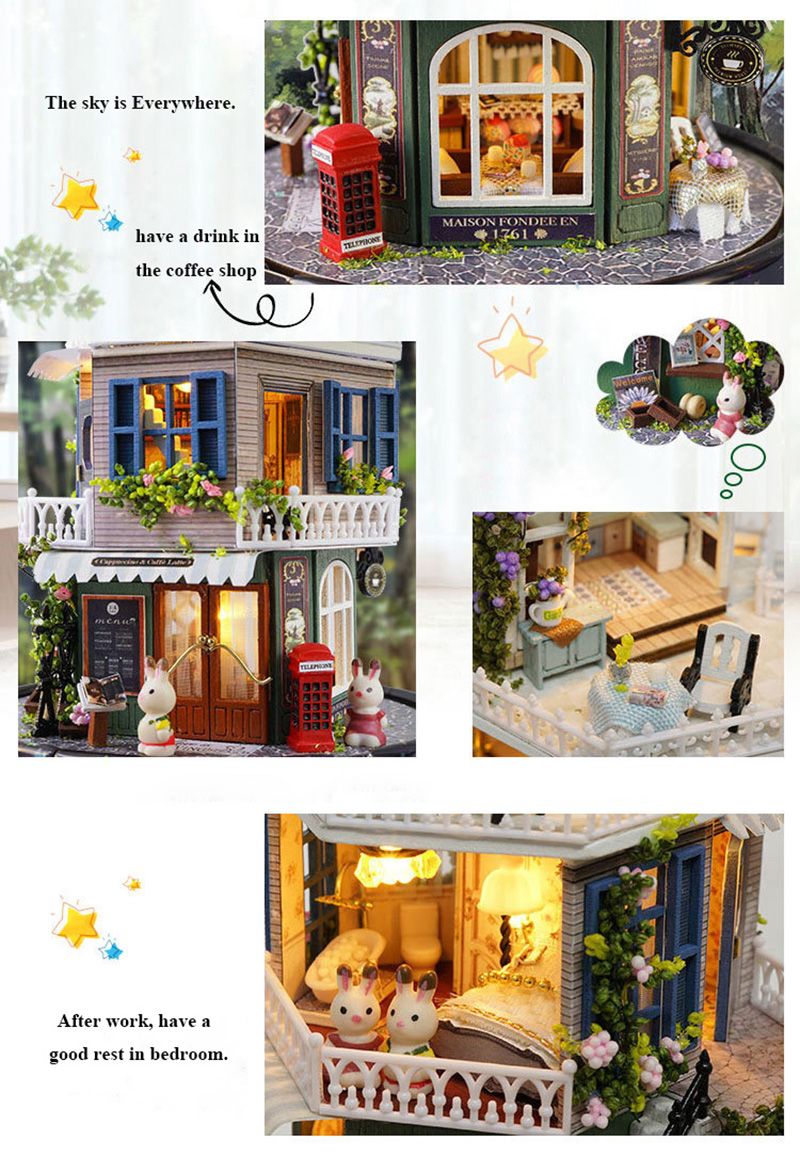 DIY Dollhouse Rotate Music Box Miniature Assemble Kits Doll House With Furnitures Wooden House Toys for Children Birthday Gift (6)