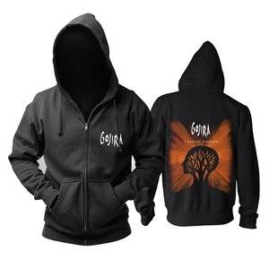 Image 3 - 9 projetos zíper moletom gojira algodão rock hoodies marca escudo jaqueta punk metal streetwear sudadera ilustração mural