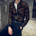 Veste 2016 Autumn Mens Gold Printed Jackets Bronzier Letter Baseball Jackets Slim Fit Coat Male Korea Fashion Zipper Jackets