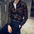 Veste 2016 Mens Del Otoño Carta Bronzier Oro Impreso Chaquetas de Béisbol Chaquetas Slim Fit Capa Masculina de Corea de La Manera de la Cremallera Chaquetas