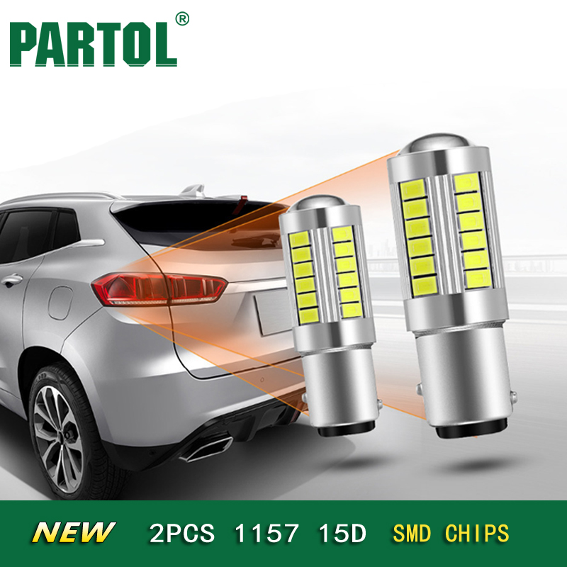 Partol 2x Mini 1157 BA15D Led Car Break Light Bulbs 12v 6000K Clearance Light Turn Signal Lamps Stoplight Reading light
