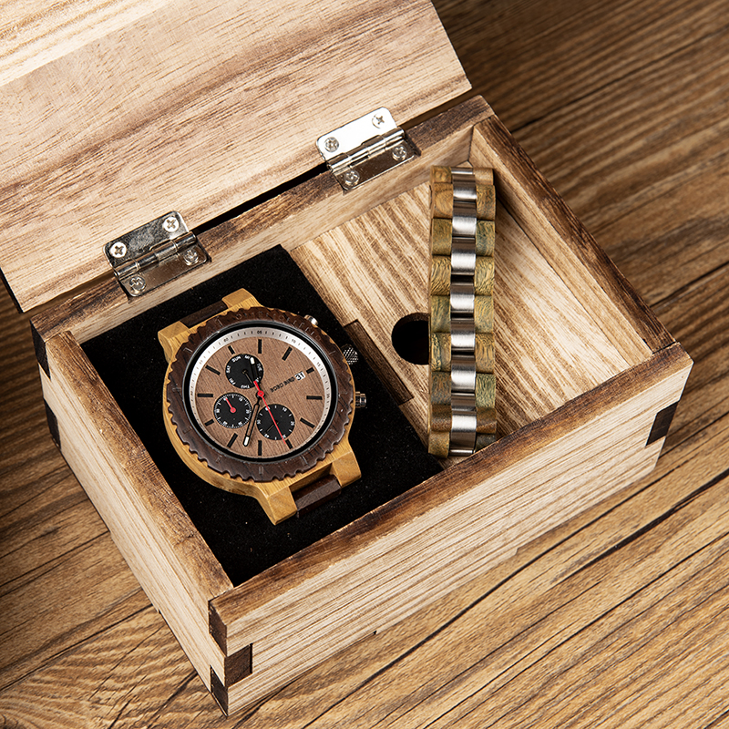 Mens Watch Bracelet Gifts Set BOBO BIRD relogio masculino Wood Timepieces Chronograph Quartz Watches in Wooden Box OEMMens Watch Bracelet Gifts Set BOBO BIRD relogio masculino Wood Timepieces Chronograph Quartz Watches in Wooden Box OEM