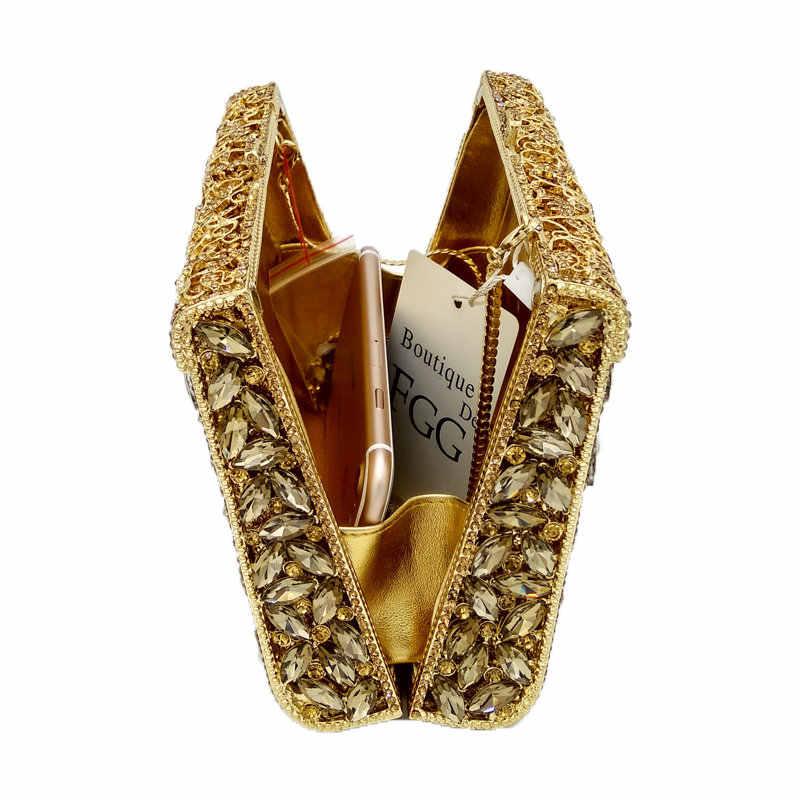 Бутик De FGG ослепительный серебряный алмаз Minaudiere клатч вечерние сумки для женщин Свадебная вечеринка Коктейльная сумочка свадебный кристалл кошелек