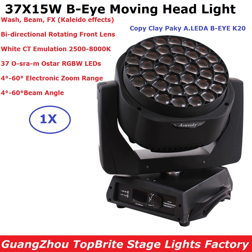 Clay Paky B-EYE 37X15W RGBW 4 Colors Moving Head Light Wash Beam FX Effect Bi-directional Rotating Front Lens For Stage Dj Disco