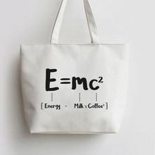 E MC2 MILK X COFFEE Canvas Tote bags Cartoon Shopping bag Shopper Grocery Bag GA976