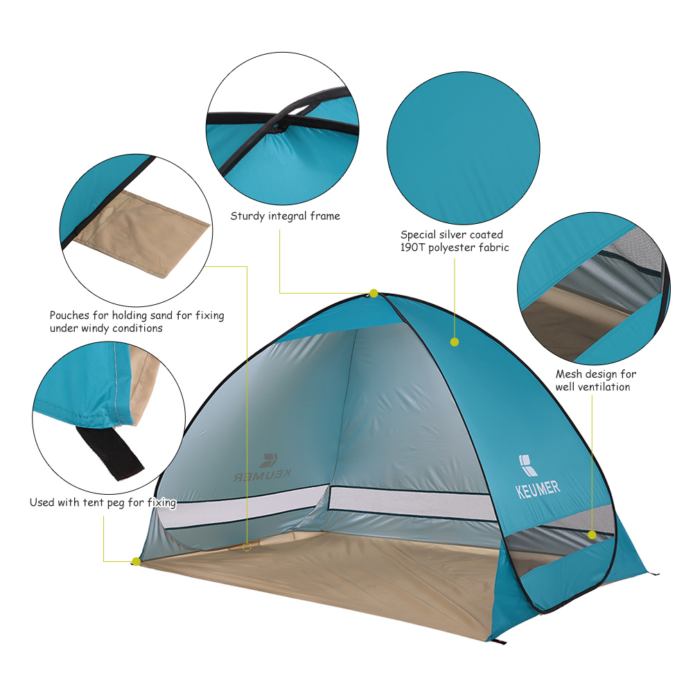 Keumer Outdoor Summer Beach Park Automatic Instant Open Camping Tent Frame Tenda Fiber Untuk Dome Fishing Hiking 2 Persons Sports Sunshade For Picnic In Tents From