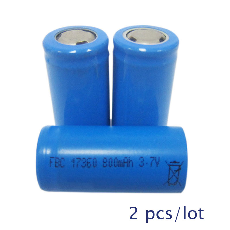 2pcs UNITEK 3.7v ICR 17360 Li-ion Battery 800mah Rechargeable Lithium Ion Cell For Massager Flashlight Torch Shaver Toothbrush