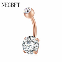NHGBFT Round belly button rings for women Surgical Piercing Body Jewelry Multicolor CZ navel piercing Dropshipping