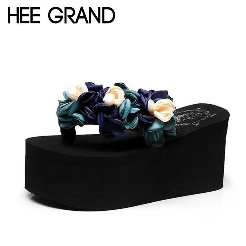 HEE GRAND Flower Decoration 2018 Women Wedge Slide High Heel Comfortable Wearing Women Fashion Shoes for Beach &and Sea XWD6580