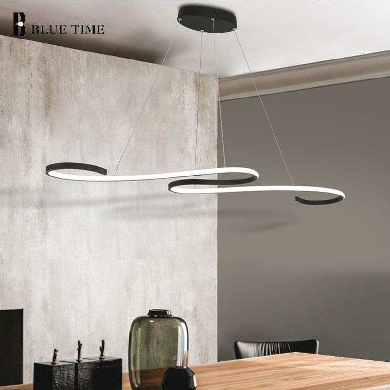 Decoration Curved Modern LED Chandelier Lights Kitchen Suspension ...