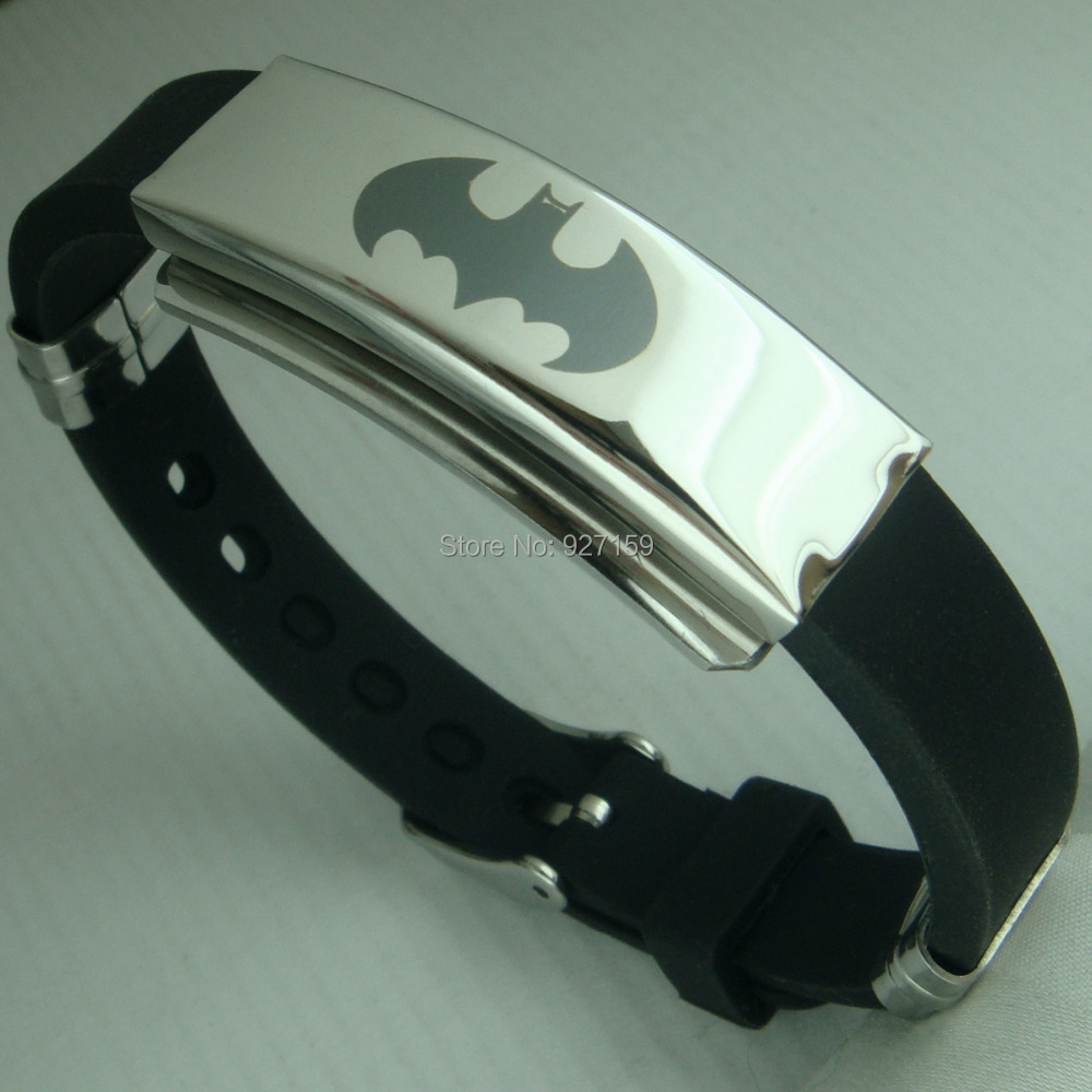 Mens Batman Cool PU Leather Bangle bracelet G96C