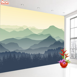 Image 4 - ShineHome Custom Chinese Oil Ink Painting Mountain Nature Wallpapers 3 d Wall Paper Wallpaper Mural Roll for Living Room Walls