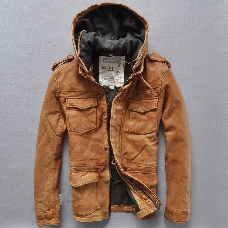 Aliexpress.com : Buy Sand wash sheepskin vintage hooded leather ...