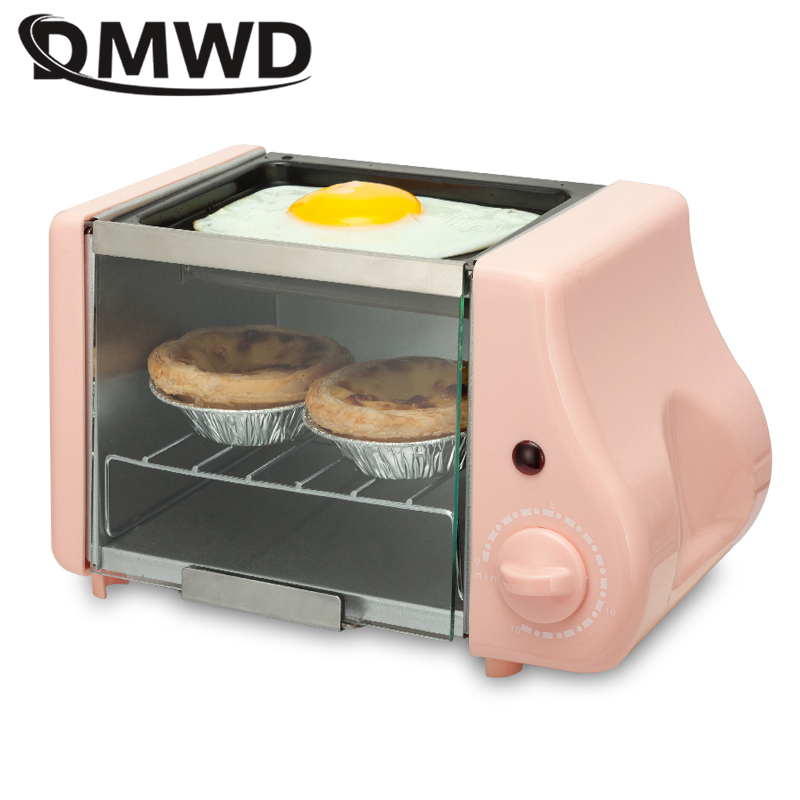 DMWD 2 In 1 Mini Electric Baking Bakery Roast Oven Grill Fried Eggs Omelette Frying Pan Breakfast Machine Bread Maker Toaster